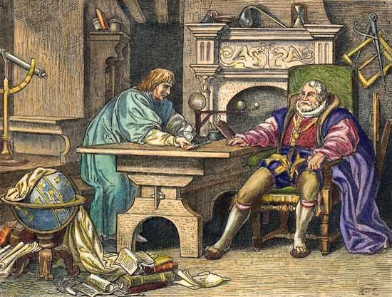 Кеплер и император Рудольф II. Гравюра Ф. Бюло, 1862