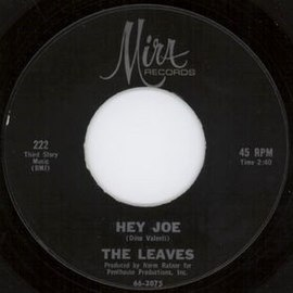 Обложка сингла The Leaves «Hey Joe, Where You Gonna Go?» (1965)