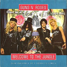Обложка сингла Guns N' Roses «Welcome to the Jungle» (1988)
