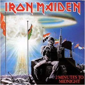Обложка сингла Iron Maiden «2 Minutes to Midnight» (1984)