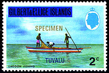 1976 stamp of Gilbert & Ellice Islands overprinted for Tuvalu.jpg