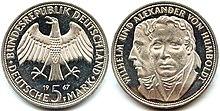 5 марок 1967г.— памятная монета ФРГ, посвящённая братьям Александру и Вильгельму фон Гумбольдт