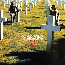 Обложка альбома Scorpions «Taken by Force» (1977)