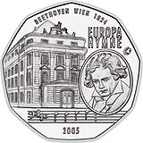 2006 Austria 5 Euro The European Anthem-Ludwig van Beethoven back.jpg