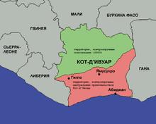 Кот де ивуар на карте