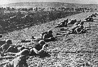 Польские солдаты в ходе боёв за Польшу. Сентябрь, 1939.