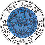 2003 Austria 25 Euro 700 Years City of Hall in Tyrol back.jpg