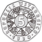 2007 Austria 5 Euro 100 Years Universal Male Suffrage front.jpg