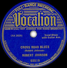 Обложка сингла Роберта Джонсона «Cross Road Blues» (1937)