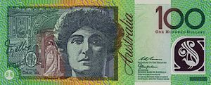 the Banknote in 100 Australian dollars