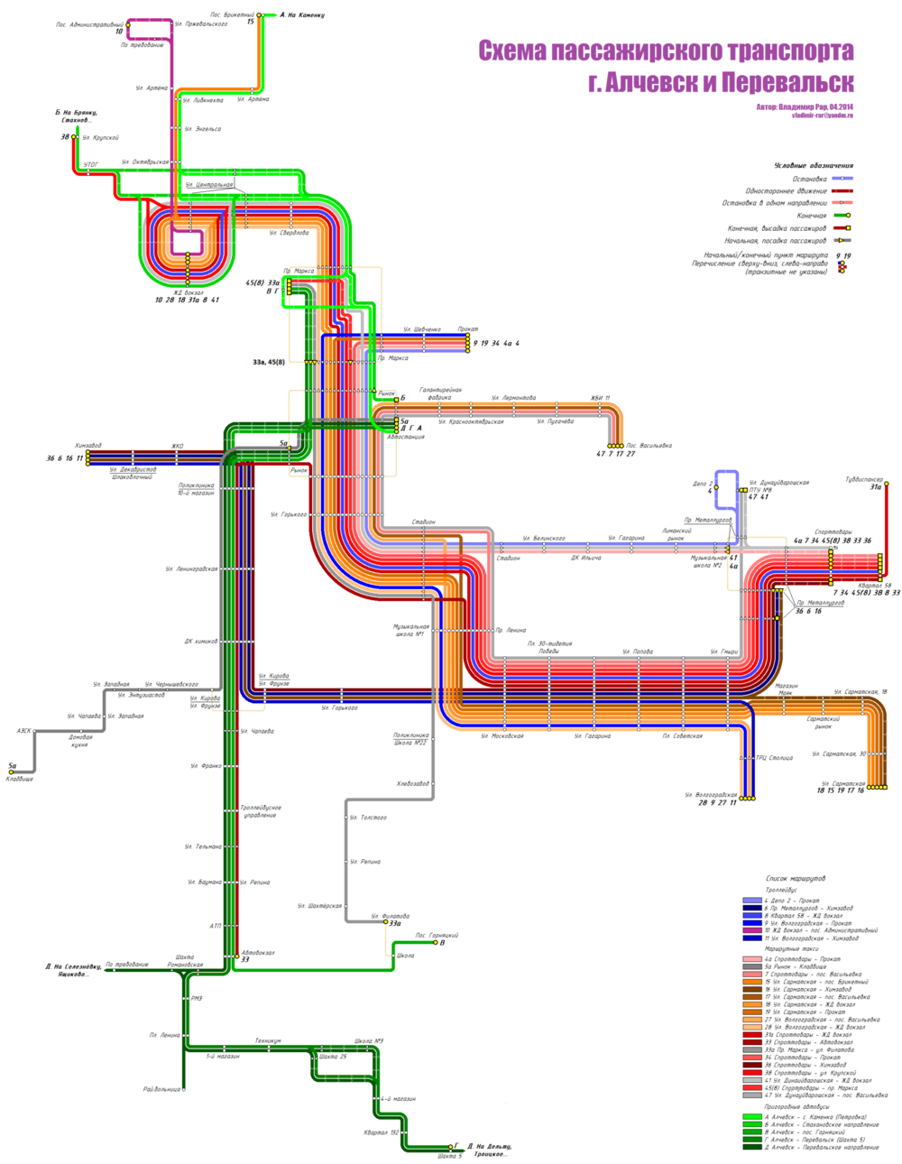 Map of transports routes in Alchevsk, Ukraine 04 2014.png