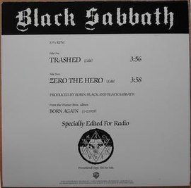 Обложка сингла Black Sabbath «Trashed» (1983)