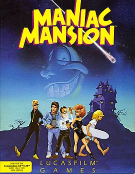 Maniac Mansion (Commodore 64) box front cover art.jpg
