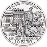2002 Austria 10 Euro The Palace of Schoenbrunn front.jpg