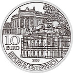2005 Austria 10 Euro Re-opening of Burgtheater and Opera 1955 front.jpg