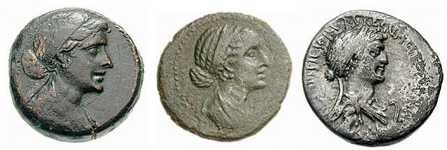 Портреты Клеопатры VII на монетах