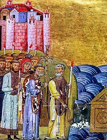 Обретение Кириллом и Мефодием мощей св. Климента. Миниатюра из Менология императора Василия II, XIв.