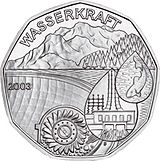 2003 Austria 5 Euro Water power back.jpg