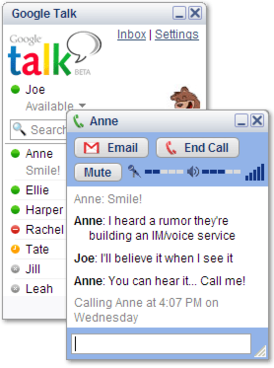 Early demo of Google Talk UI. That was before Google launched WebRTC