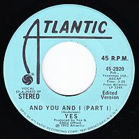 Обложка сингла «And You and I» (Yes, 1972)