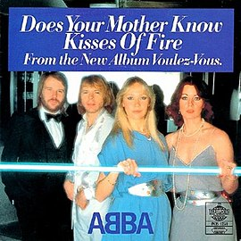 Обложка сингла ABBA «Does Your Mother Know» (1979)