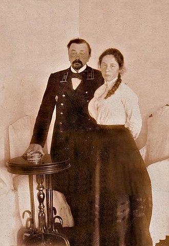 Огарков В. В. со старшей дочерью Огарковой Е. В. (женой барона Остен-Сакена).