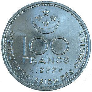 Монета в 100 франков 1977 года