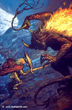 Ted Nasmith - Glorfindel and the Balrog Above Gondolin.jpg