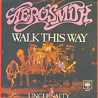 Обложка сингла «Walk This Way» (Aerosmith, 1975)