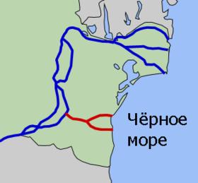 Схема канала «Дунай - Чёрное море»