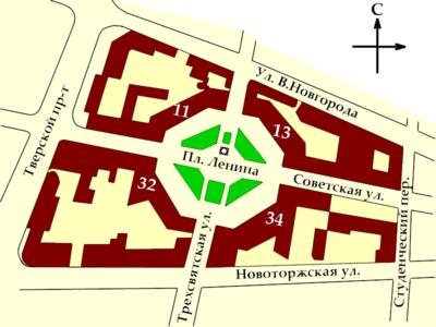 Схема расположения зданий на