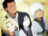 Молодые Цунадэ, Оротимару и Дзирайя с их сэнсэем Сарутоби.