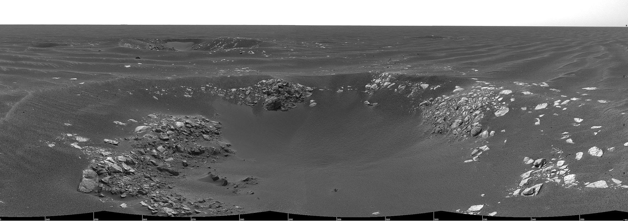 Панорамное изображение «кратеров-тройняшек» — Натуралист (на переднем плане), Географ (позади, самый крупный), Инвестигатор (вверху, правее центра)