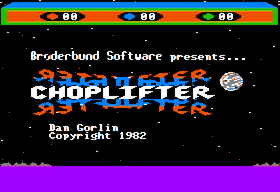 The title screen of the Apple II game Choplifter