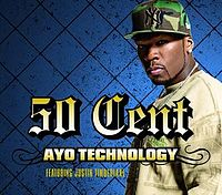 Обложка сингла «Ayo Technology» (50 Cent при участии Justin Timberlake и Timbaland, )