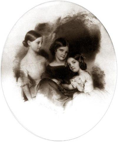 Анна, Дарья, Екатерина Тютчевы. Худ. Саломе, Мюнхен, 1843 год.