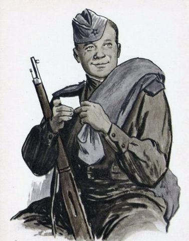 Иллюстрация Ореста Верейского к поэме Твардовского Василий Тёркин