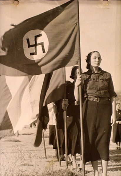 Spanish Falangist allies carry banners Franco: Germany, Italy, Portugal.  December 8, 1936
