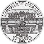 2002 Austria 10 Euro The Castle of Schlosshof front.jpg