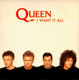 Обложка сингла Queen «I Want It All» (1989)