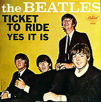 Обложка сингла «Ticket to Ride» (The Beatles, 1965)