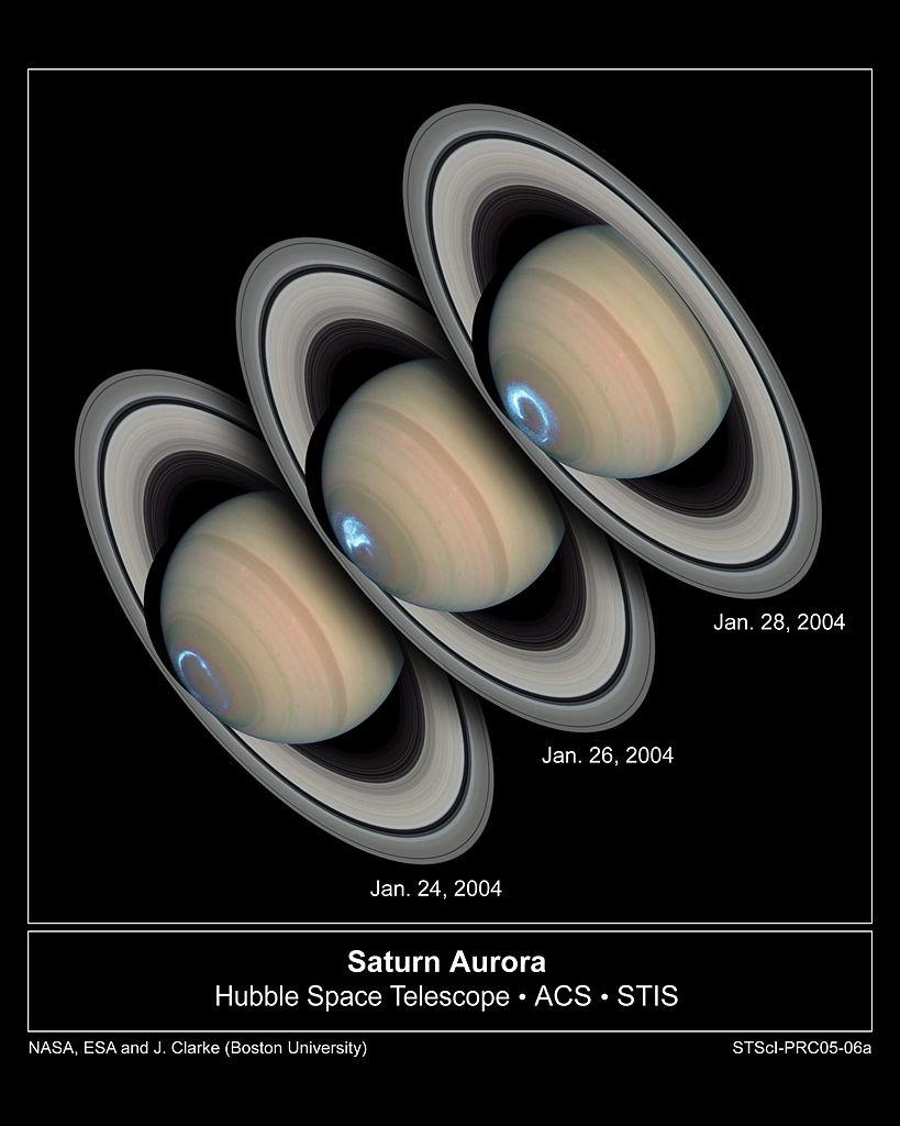 Полярное сияние над северным полюсом Сатурна