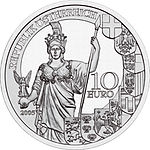 2005 Austria 10 Euro 60 Years Second Republic front.jpg