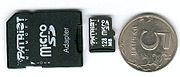 Адаптер, microSD-карта и 5-рублёвая монета
