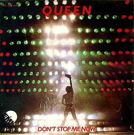 Обложка сингла Queen «Don't Stop Me Now» (1979)
