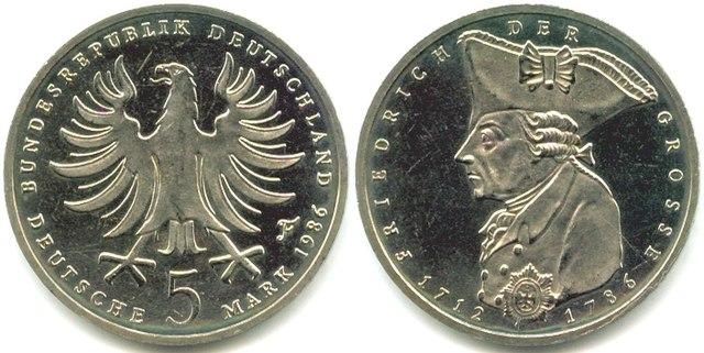 5 марок 1986г.— немецкая памятная монета, посвящённая 200-летию со смерти Фридриха II Великого