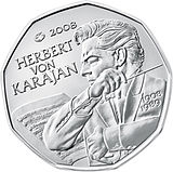 2002 Austria 5 Euro 100th Birthday of Herbert von Karajan back.jpg