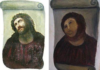Фреска «Ecce Homo» в оригинальном виде (слева) и после «реставрации» (справа)