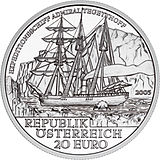 2005 Austria 20 Euro Admiral Tegetthoff-The Polar Expedition front.jpg