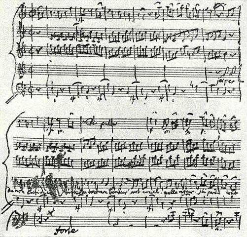 Ария Орфея из оперы «Орфей и Эвридика». Автограф